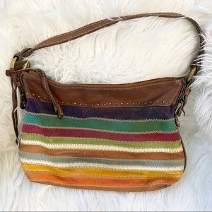 Fossil patchwork suede $ leather multi hobo bag